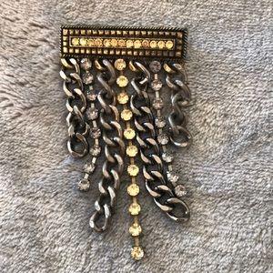 Rhinestone and Mixed Metal Pin Brooch